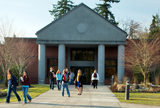Students gather outside the Gaspard Building on the Puyallup Campus.