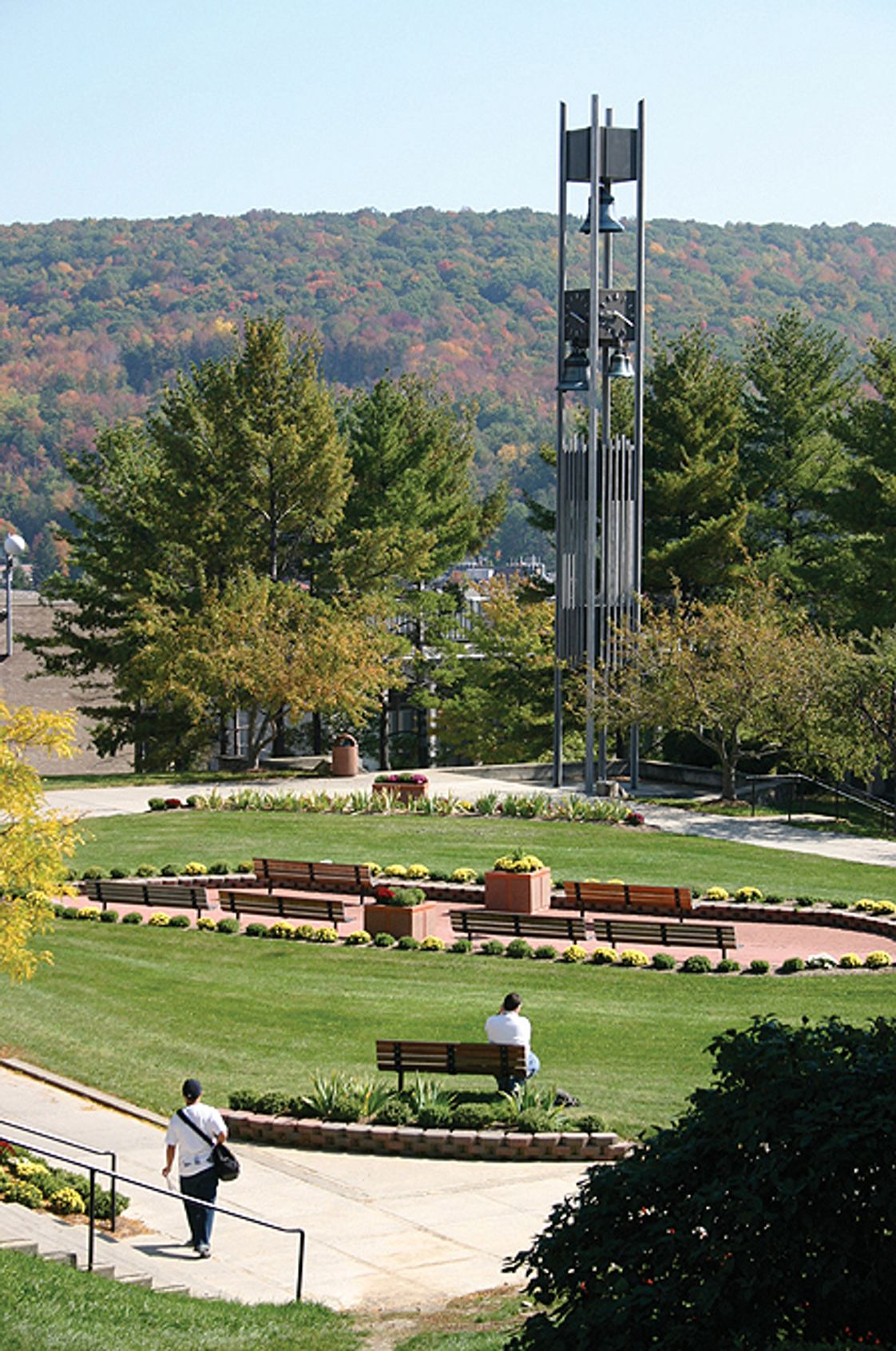 SUNY College of Technology at Alfred Photo - View of the Alumni Plaza and Walter C. Hinkle/Robert Couse Bell Tower.